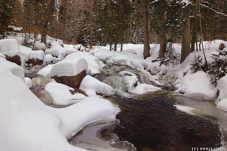 Der Untere Bodewasserfall im Winter