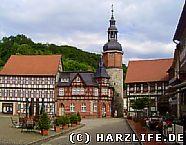 Der Marktplatz mit dem Saigerturm in Stolberg